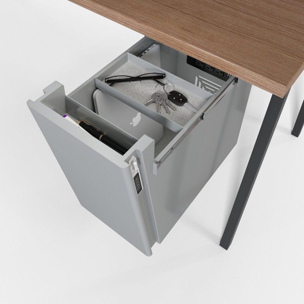 Underdesk storage for sit-stand desks